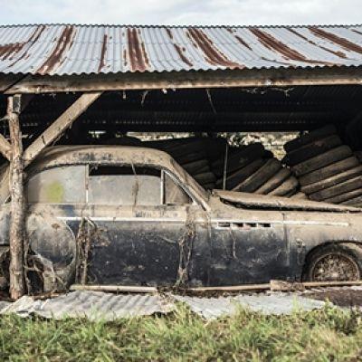 Намерени съкровищници от стари коли с покривало